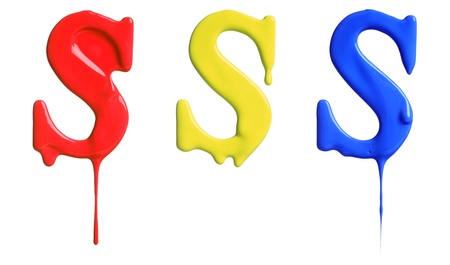 dripping paint: Paint dripping alphabet S with 3 different variations in red, yellow, and blue Stock Photo