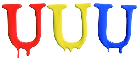 dripping paint: Paint dripping alphabet U with 3 different variations in red, yellow, and blue