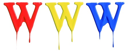 drippings: Paint dripping alphabet W with 3 different variations in red, yellow, and blue