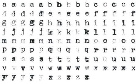 faded: Vintage typed alphabet with 5 different variations of every letter