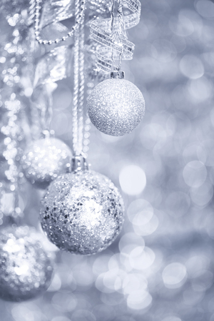 Silver Christmas decorations background Stock Photo