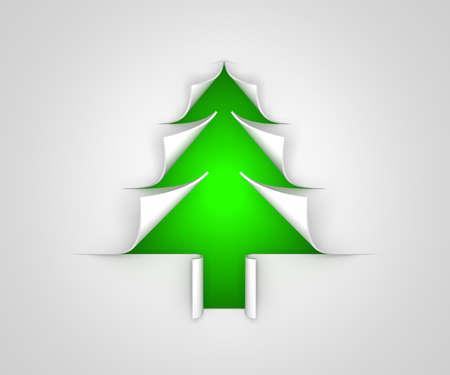 paper curl: Papel del �rbol de Navidad del enrollamiento