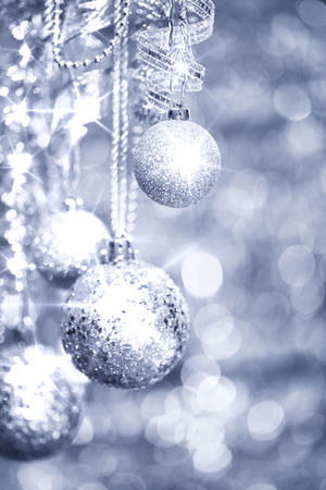 Silver Christmas decorations  photo