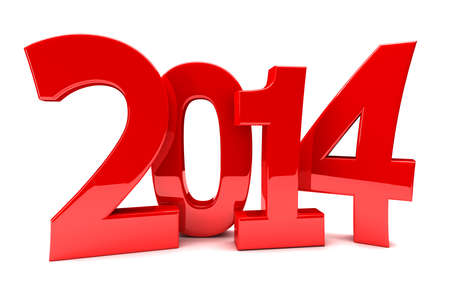 newyear: 2014 in shiny red numbers Stock Photo