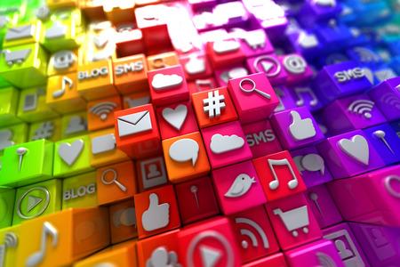 comunicación: Iconos coloridos medios sociales Foto de archivo