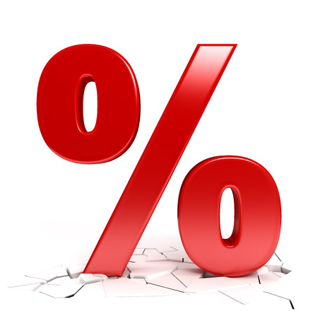 breaking off: Red percent sign Stock Photo
