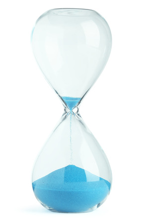 glasses in the sand: Blue hourglass