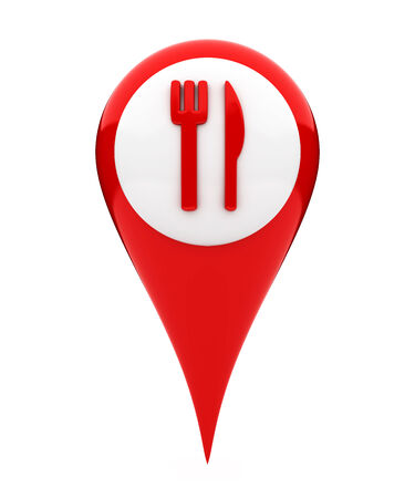 map pointer: Location marker showing food icon