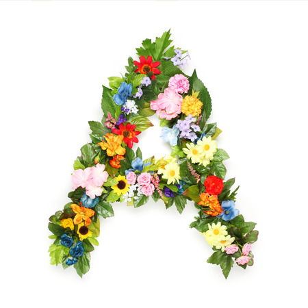 made: Letters made of leaves and flowers