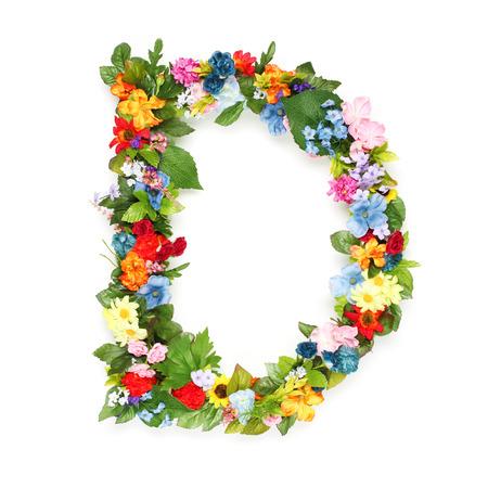 Letters gemaakt van bladeren en bloemen