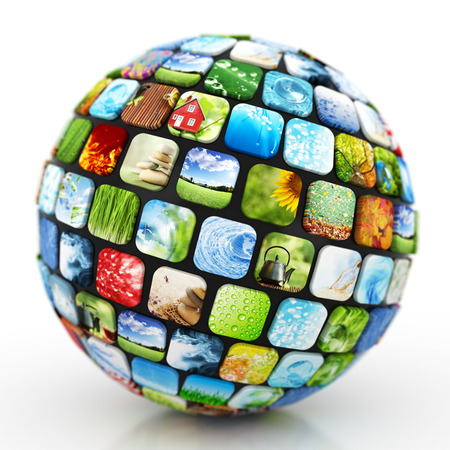 Sphere of colorful images photo