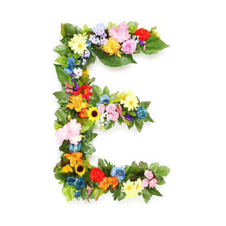 letter e: Letters made of leaves and flowers