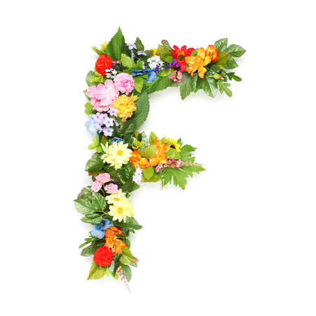 Letters made of leaves and flowers photo