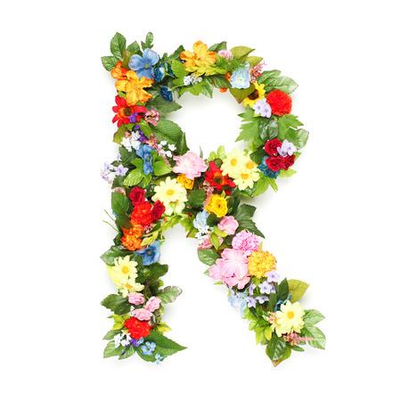 Lettere fatte di foglie e fiori Archivio Fotografico - 30323707