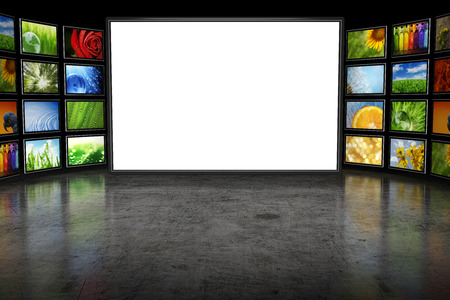photo studio background: Tv screeen with images