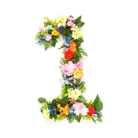 Numbers made of leaves and flowers photo