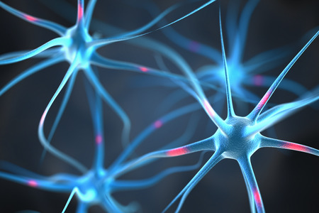 alzheimer: Neurons in the brain Stock Photo