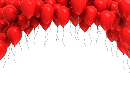 globos de cumplea�os: Antecedentes de globos rojos Foto de archivo