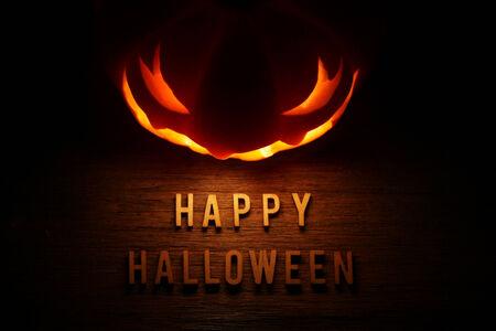 jack o lantern: Spooky Halloween background with jack o lantern - Happy Halloween