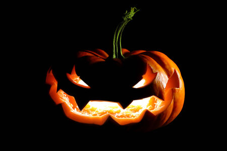 jack o lantern: Glowing Halloween jack o lantern Stock Photo