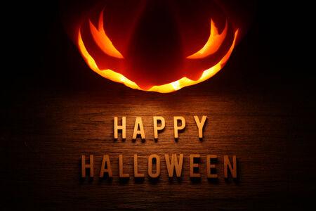 Spooky Halloween background with jack o lantern - Happy Halloween photo