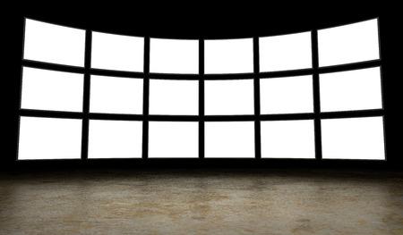 Empty tv screens Stock Photo