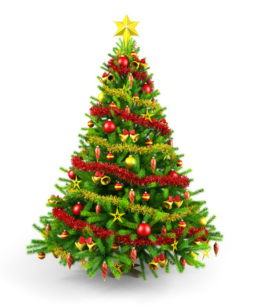 balls decorated: Decorated Christmas tree Stock Photo