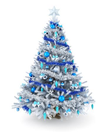 Prata e azul da árvore de Natal