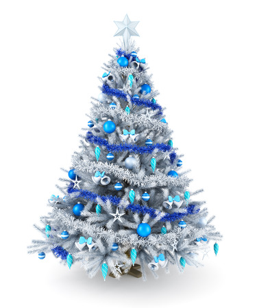 christmas ball isolated: Silver and blue Christmas tree