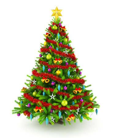 Decorated Christmas tree 版權商用圖片