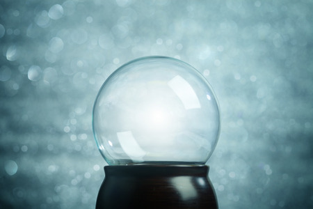 crystal ball: Empty snow globe Christmas background