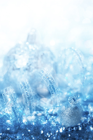Blue Christmas ornaments background photo
