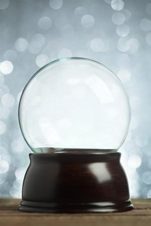 magic ball: Empty snow globe Christmas background