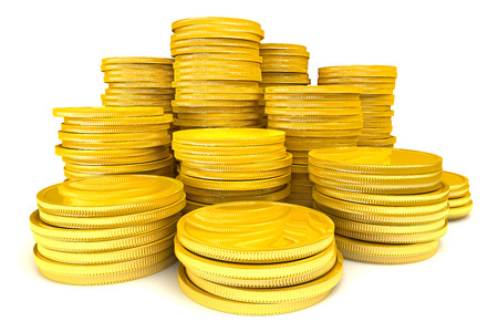 stockpile: Stack of gold coins Stock Photo