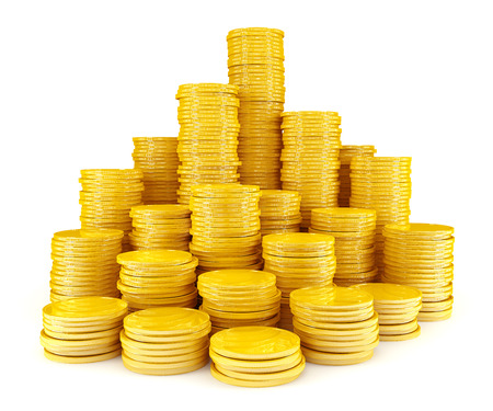 pile of coins: Stack of gold coins Stock Photo
