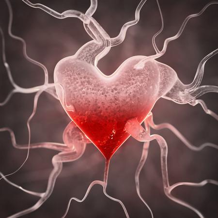 healthy arteries: Sick heart background Stock Photo
