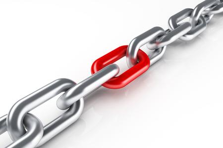 in chains: Cadena de acero con vínculo rojo