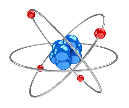 electrons: Atom 3d on white