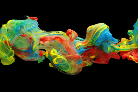 green ink: Colorful ink and paint swirling through water