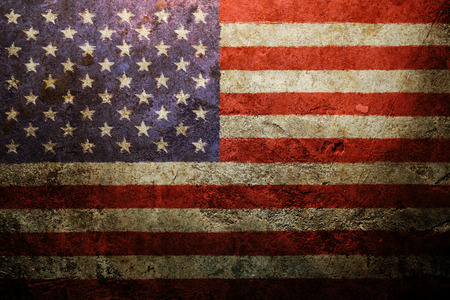 fourth july: Worn vintage American flag background Stock Photo