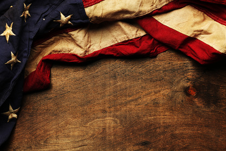 antique background: Old American flag background for Memorial Day or 4th of July