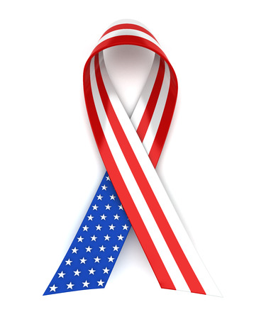memorial day: Red, white, and blue ribbon for 4th of July or Memorial Day