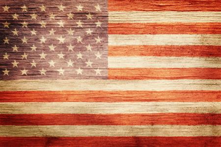 Worn vintage American flag background 스톡 콘텐츠