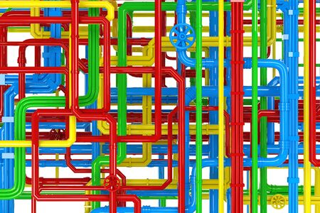 complex system: Maze of colorful pipes background Stock Photo