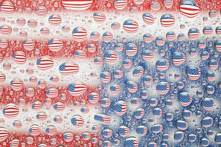 liquid state: American flag reflected in water drops background