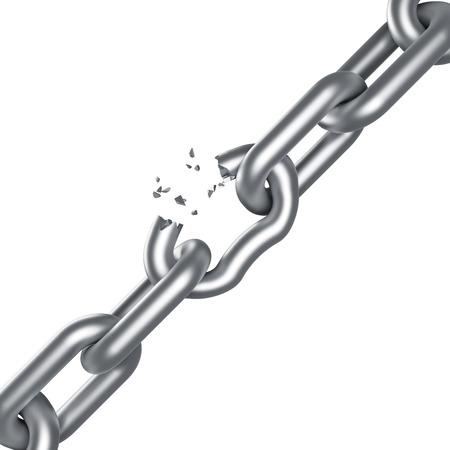 break: Steel chain breaking isolated on white