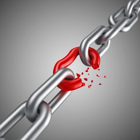 lien: chaîne d'acier rompre avec lien rouge uniques