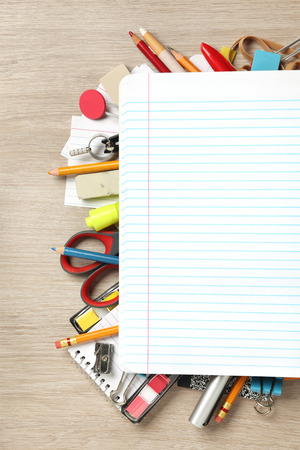office supplies: Blank paper on lots of office supplies