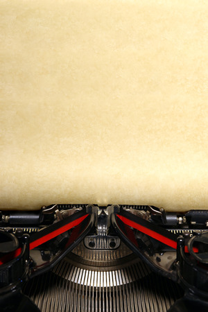 typewriter key: Old vintage typewriter with blank paper