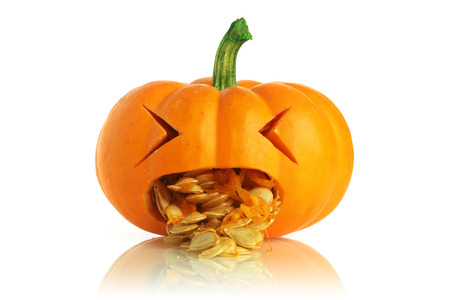 pumpkin seed: Pumpkin being sick Stock Photo